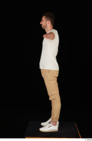Trent brown trousers casual dressed standing t poses white sneakers white t shirt whole body 0003.jpg